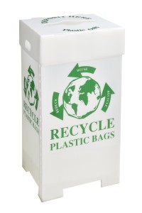 Grocery store plastic bag recycling bin