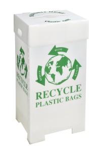Grocery store plastic bag recycling bin