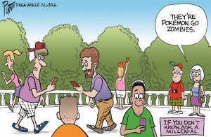 Bruce Plante Cartoon: Pokémon Go, Niantic, smartphone game, Ingress, The Pokémon Company, Nintendo, Plante 20160712